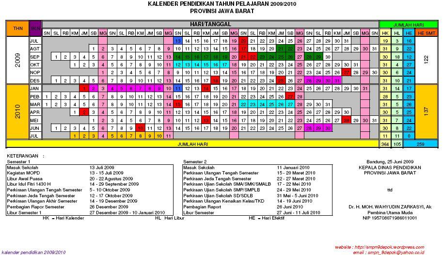 Kalender Pendidikan T.P 0910 Prov Jawa Barat