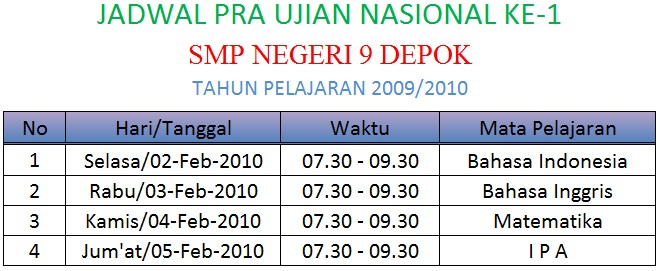 jadwal to ke-1 tp 0910