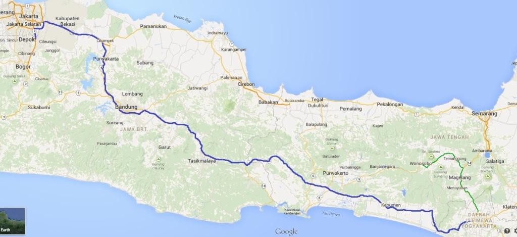 peta keberangkatan depok-yogya-dieng